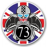 Year Dated 1973 Cafe Racer Roundel Design & Union Jack Flag Vinyl Car sticker decal 90x90mm
